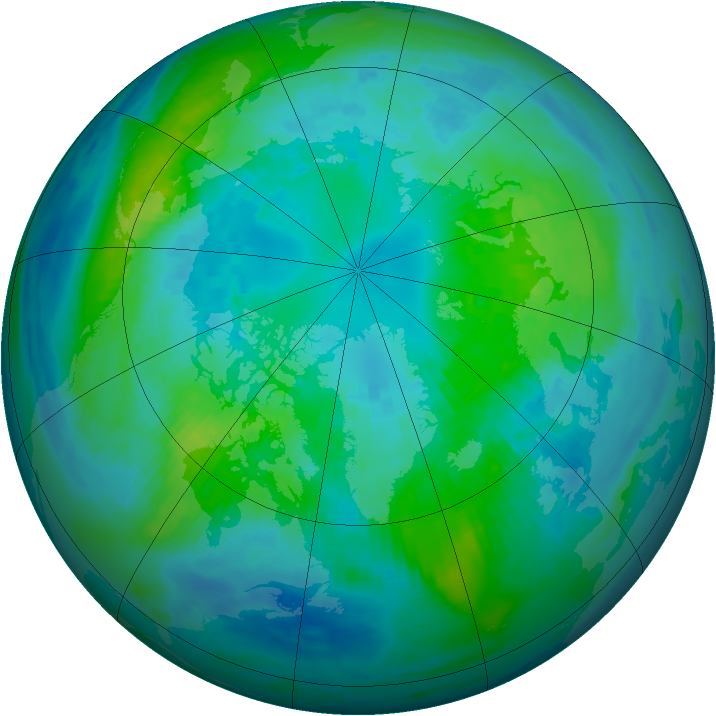 Arctic ozone map for 12 October 1990