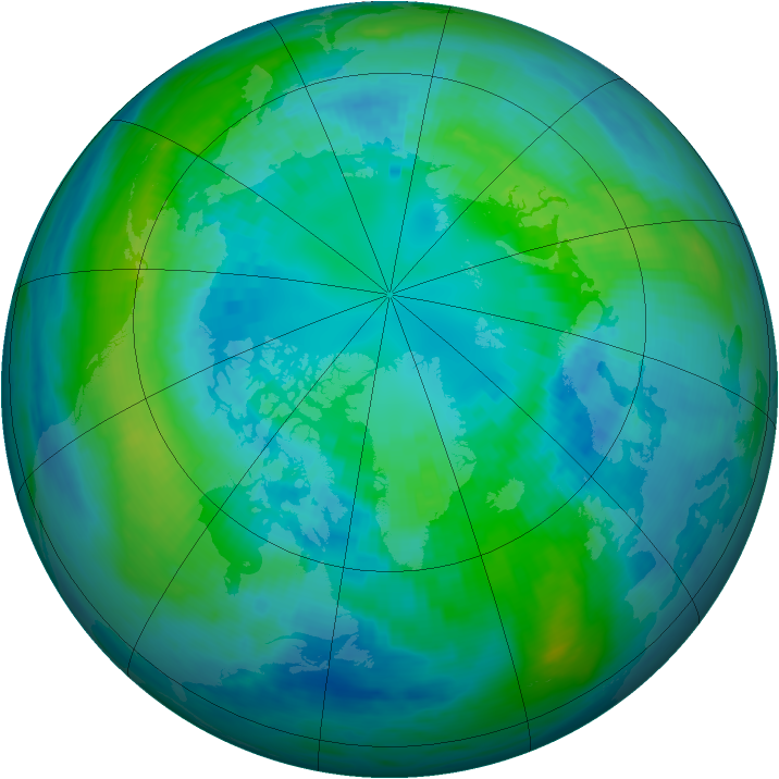 Arctic ozone map for 14 October 1990