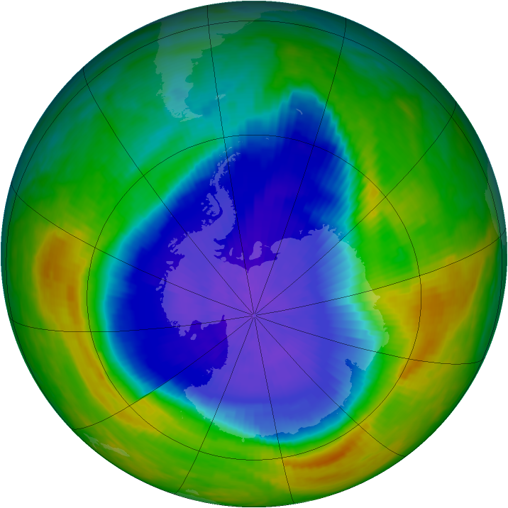 Antarctic ozone map for 15 October 1990