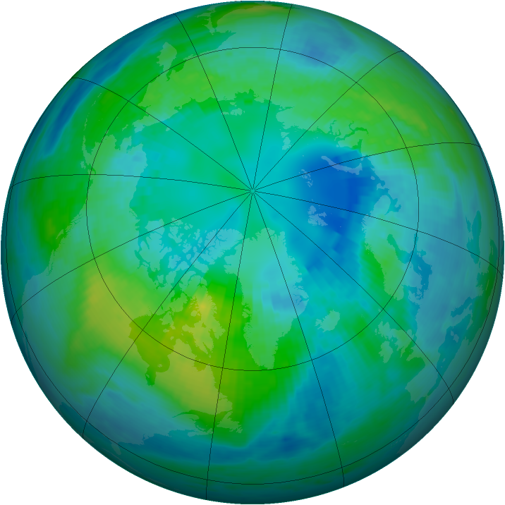 Arctic ozone map for 17 October 1990