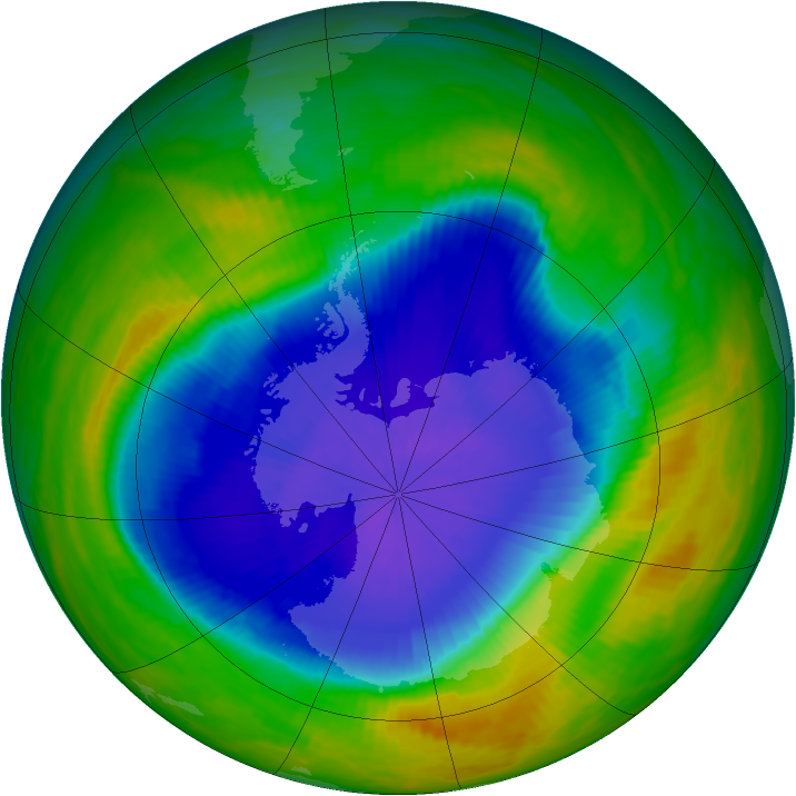 Antarctic ozone map for 17 October 1990