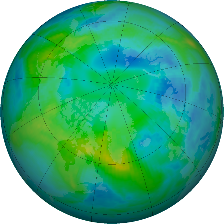 Arctic ozone map for 19 October 1990