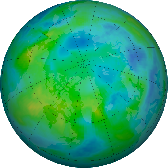 Arctic ozone map for 20 October 1990