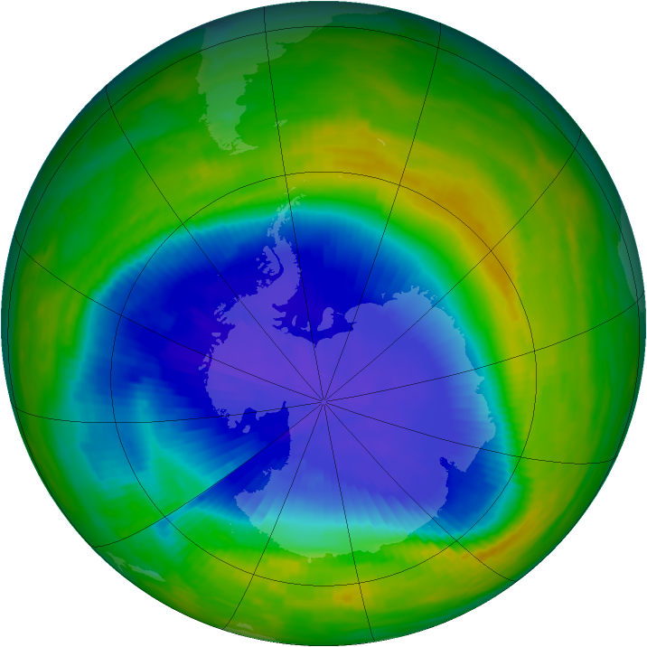 Antarctic ozone map for 21 October 1990