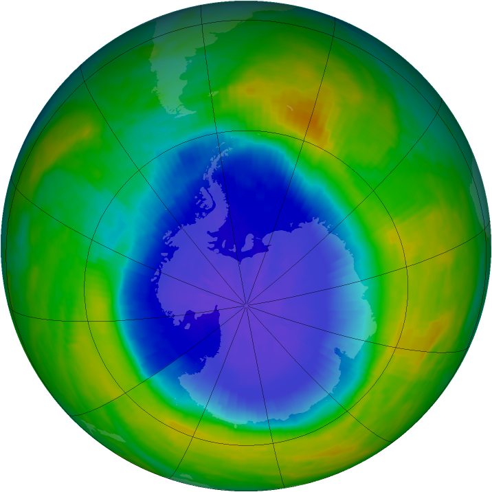 Antarctic ozone map for 24 October 1990