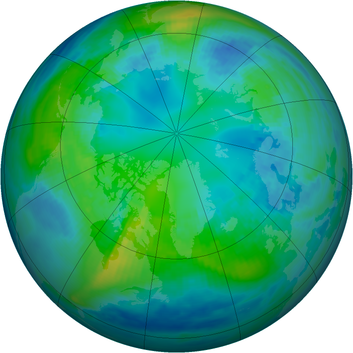 Arctic ozone map for 25 October 1990