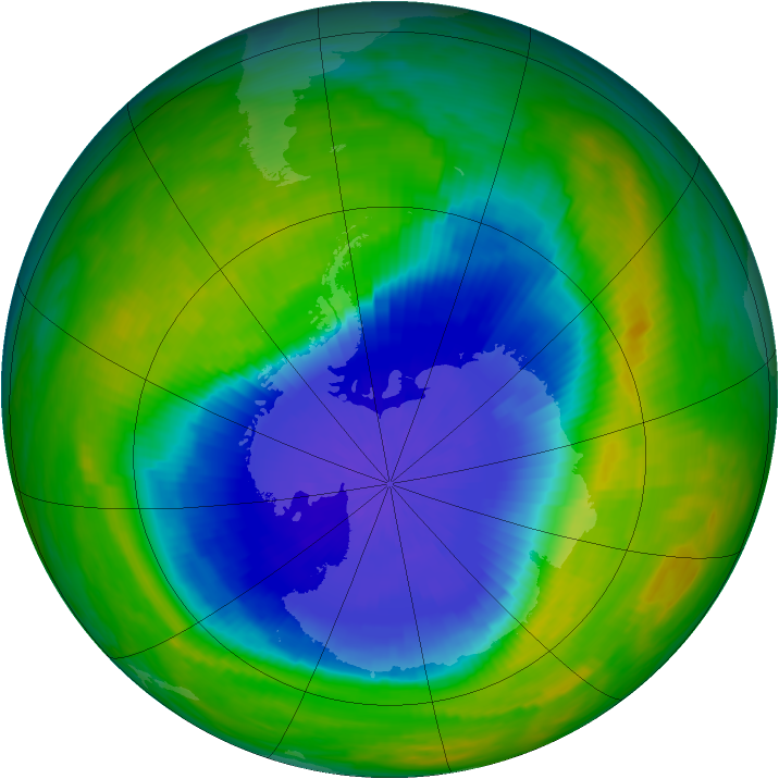 Antarctic ozone map for 27 October 1990