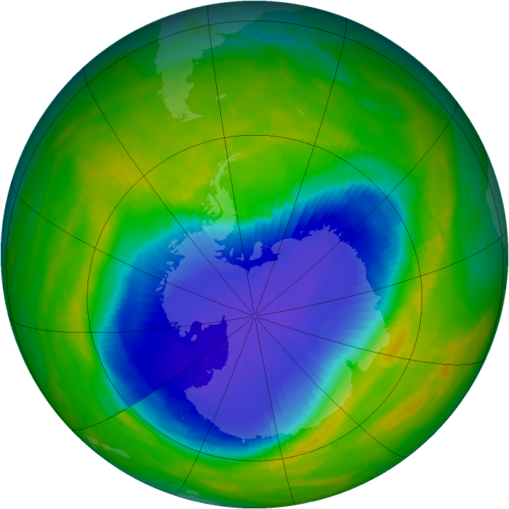 Antarctic ozone map for 28 October 1990