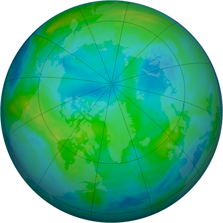 Arctic ozone map for 30 October 1990