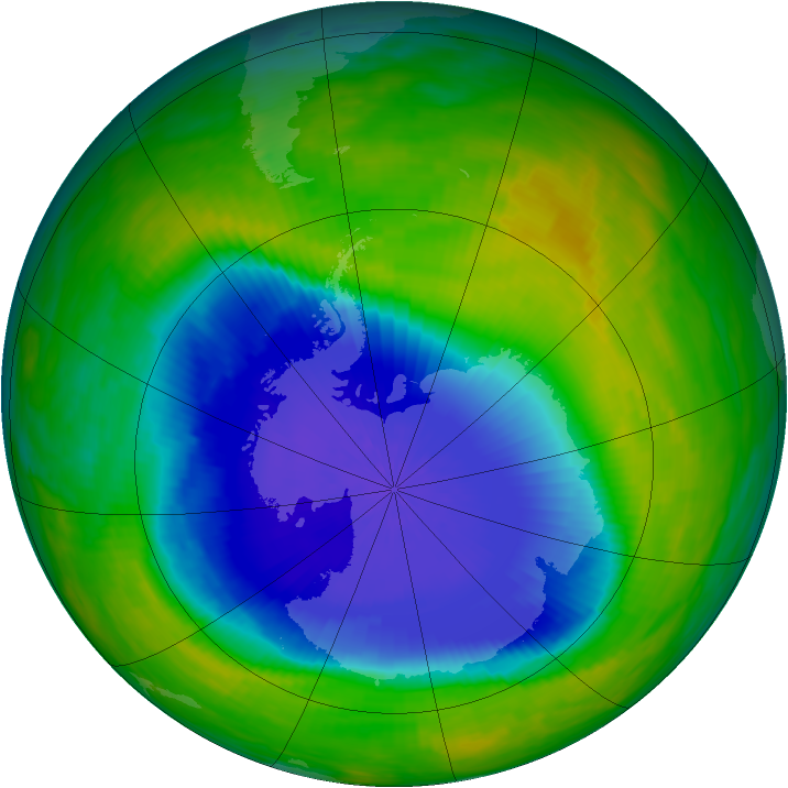 Antarctic ozone map for 31 October 1990