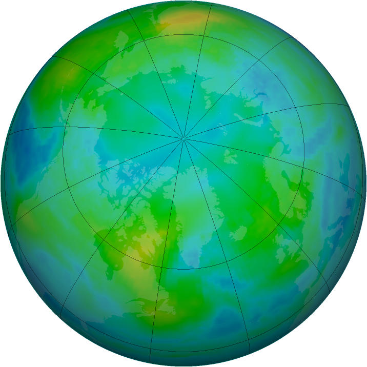 Arctic ozone map for 01 November 1990