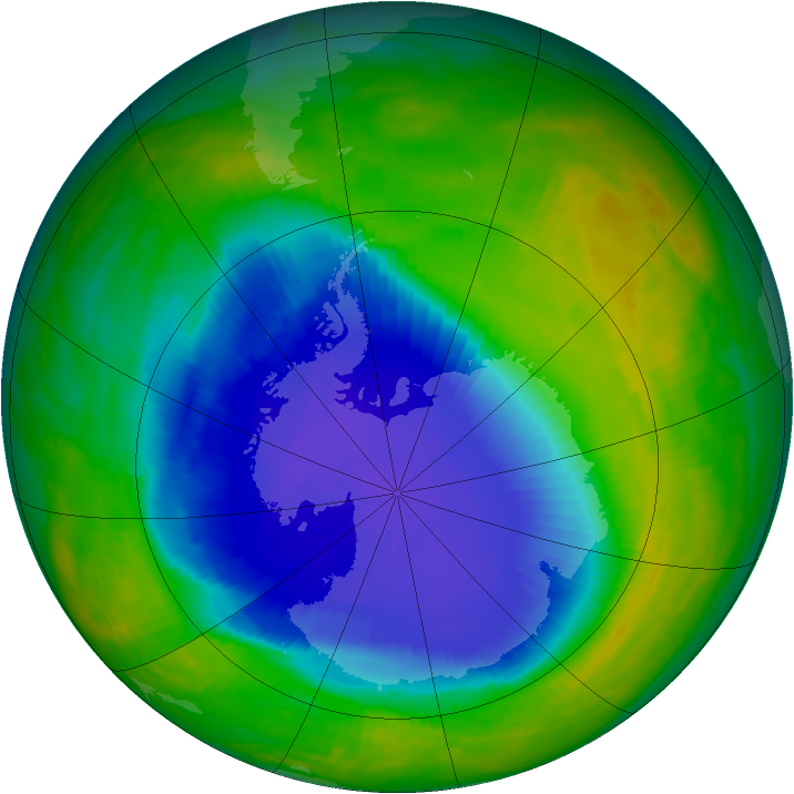 Antarctic ozone map for 01 November 1990