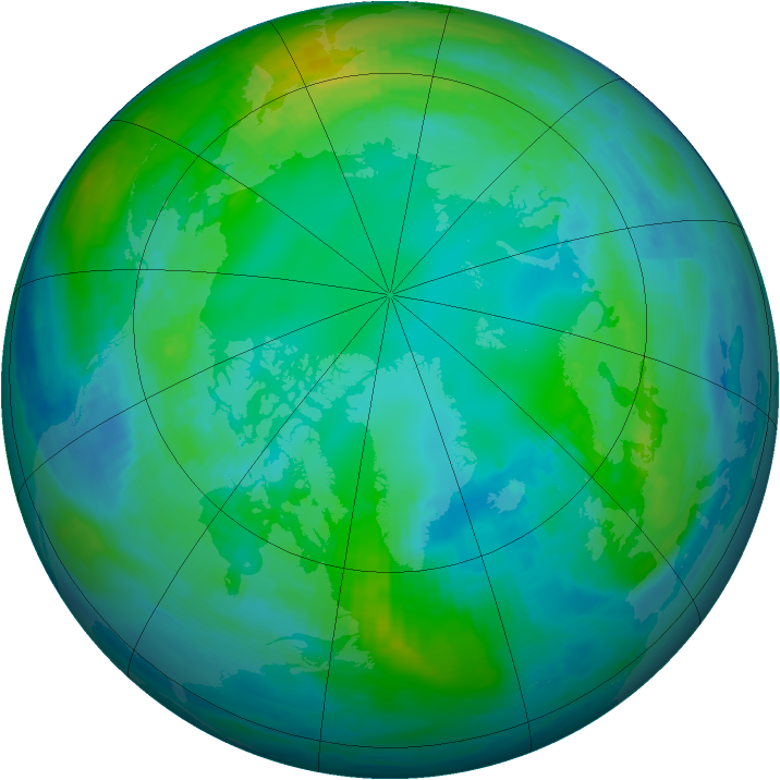 Arctic ozone map for 03 November 1990