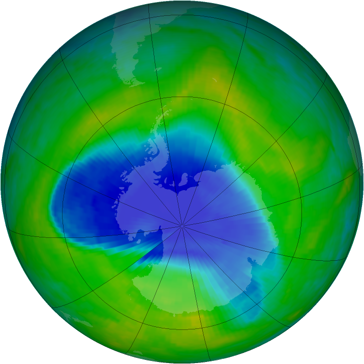 Antarctic ozone map for 24 November 1990