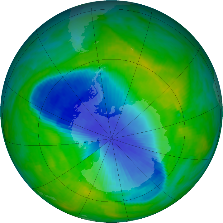 Antarctic ozone map for 26 November 1990