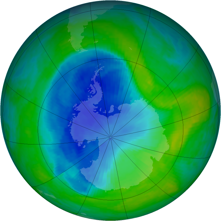 Antarctic ozone map for 01 December 1990