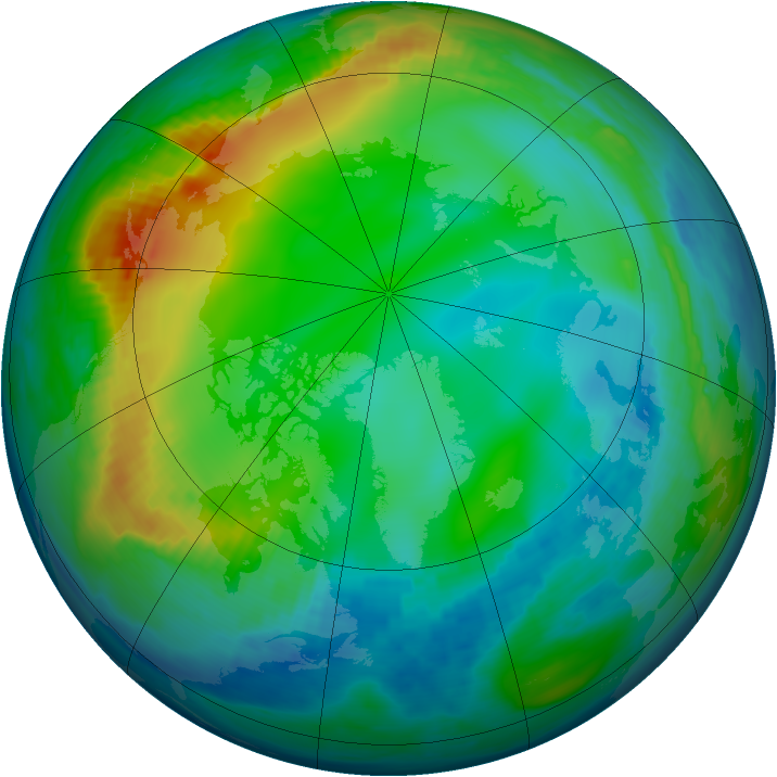 Arctic ozone map for 02 December 1990
