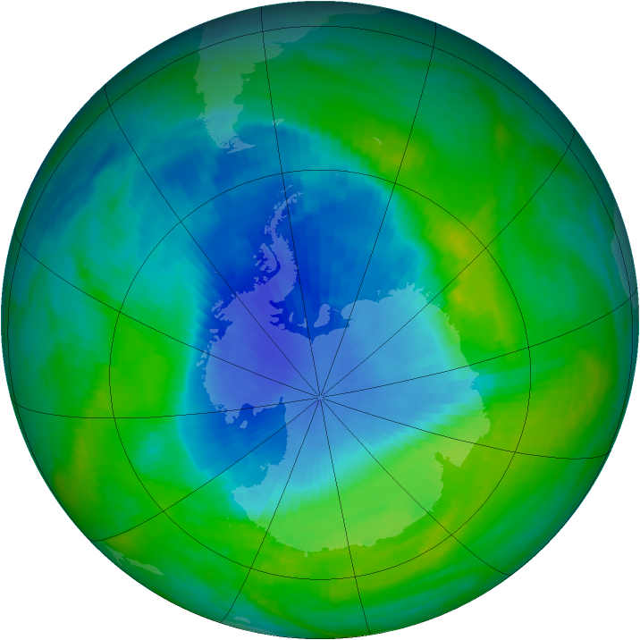 Antarctic ozone map for 05 December 1990