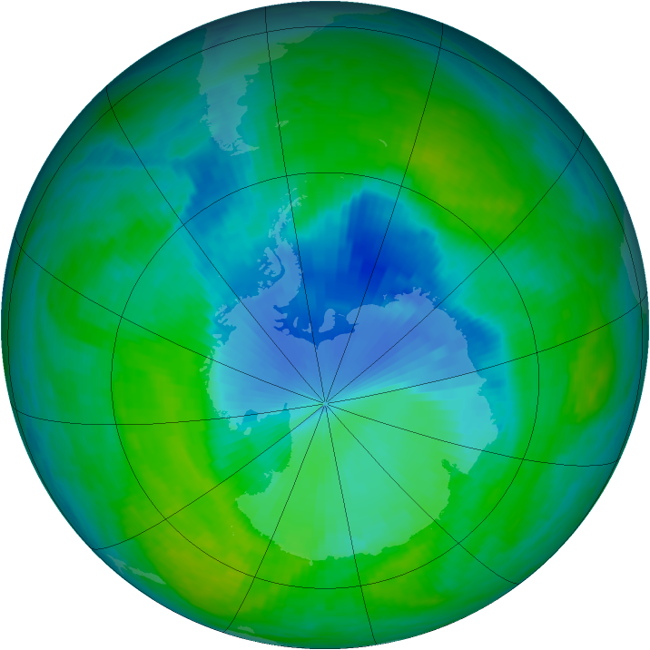 Antarctic ozone map for 15 December 1990