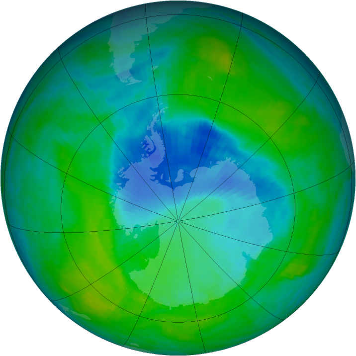 Antarctic ozone map for 16 December 1990