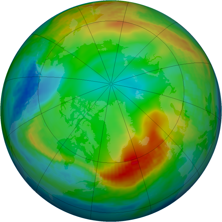 Arctic ozone map for 28 December 1990
