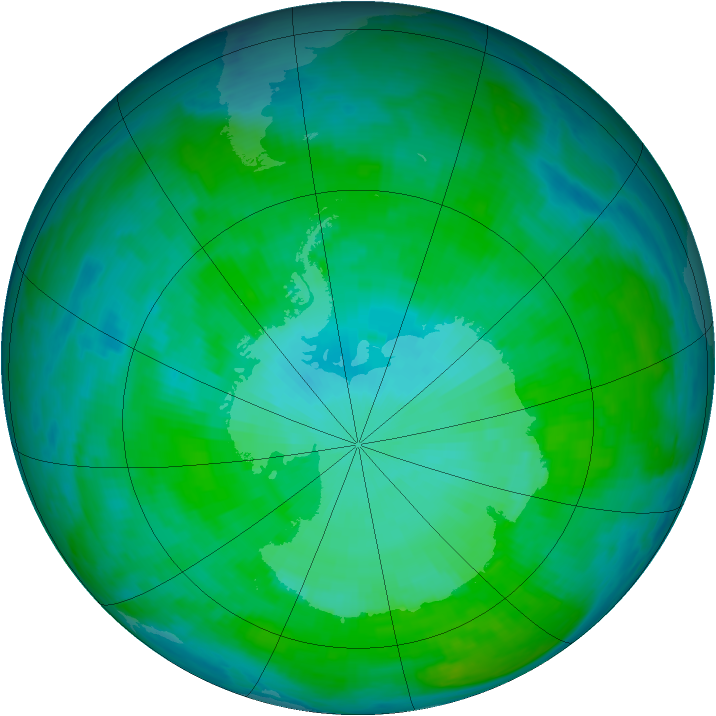 Antarctic ozone map for 31 December 1990