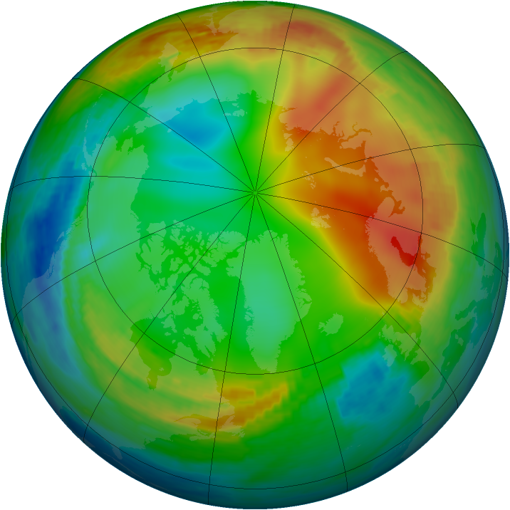 Arctic ozone map for 01 January 1991