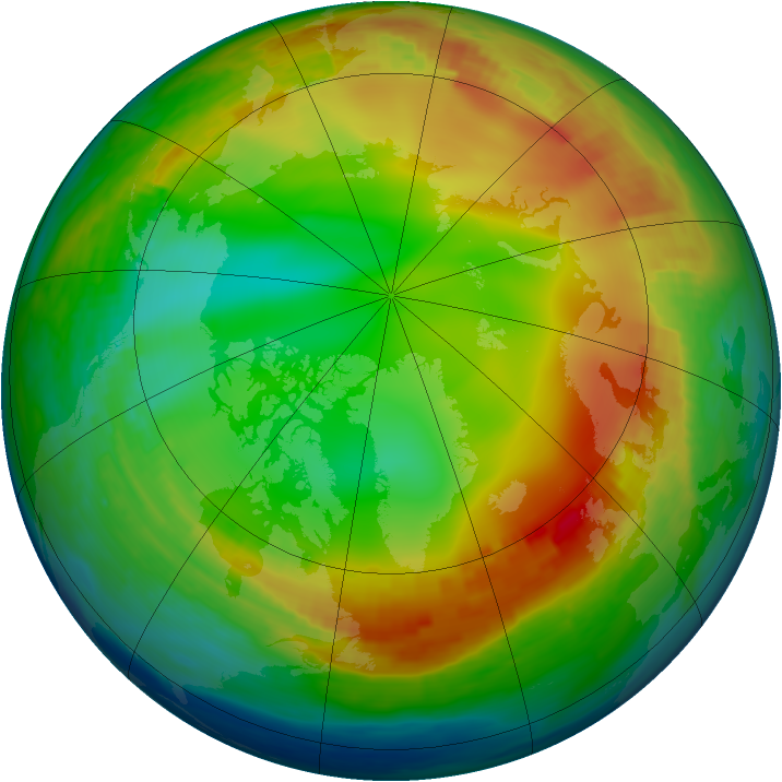 Arctic ozone map for 05 January 1991