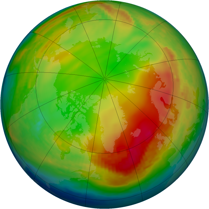 Arctic ozone map for 09 January 1991