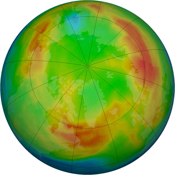 Arctic ozone map for 14 January 1991