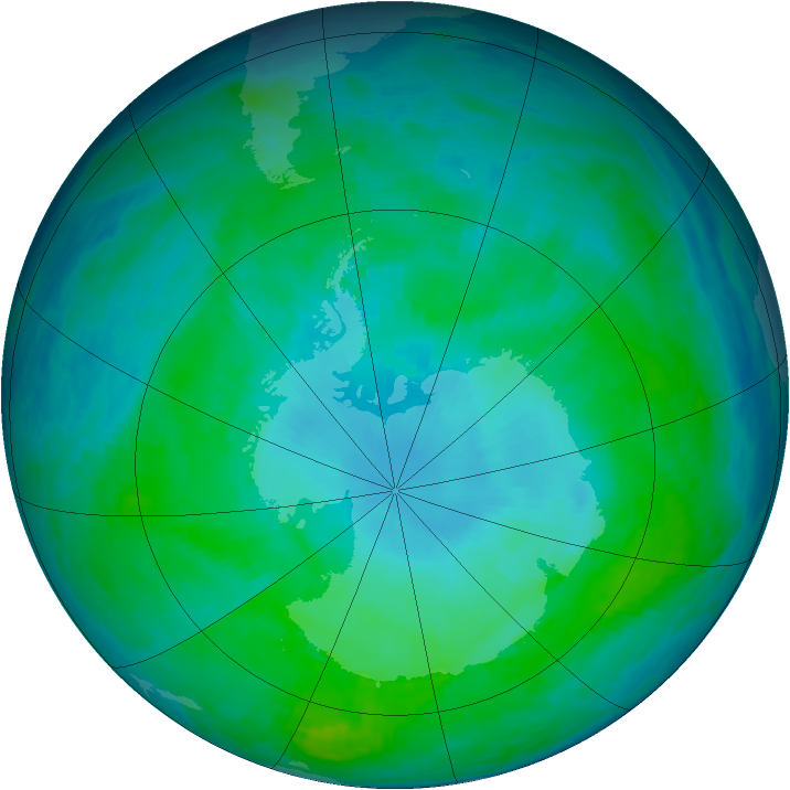 Antarctic ozone map for 20 January 1991