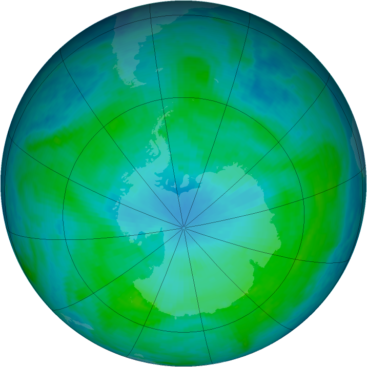 Antarctic ozone map for 23 January 1991