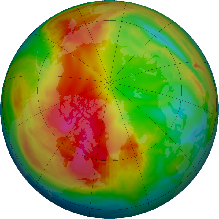 Arctic ozone map for 25 January 1991