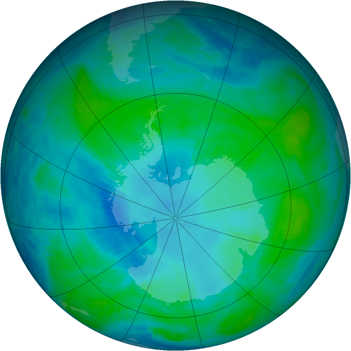 Antarctic ozone map for 02 February 1991