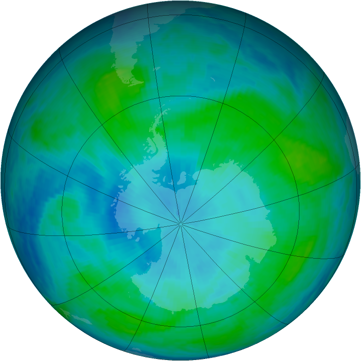 Antarctic ozone map for 03 February 1991