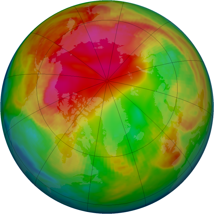 Arctic ozone map for 07 February 1991