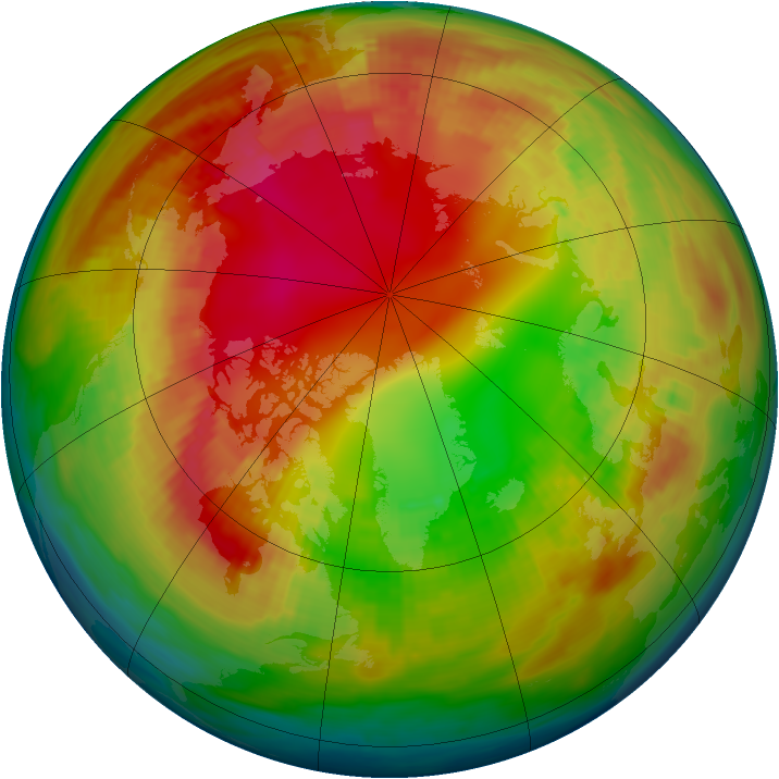 Arctic ozone map for 09 February 1991