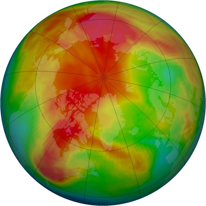Arctic ozone map for 15 February 1991