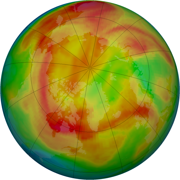 Arctic ozone map for 22 February 1991