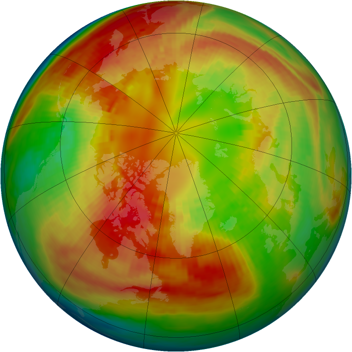 Arctic ozone map for 25 February 1991