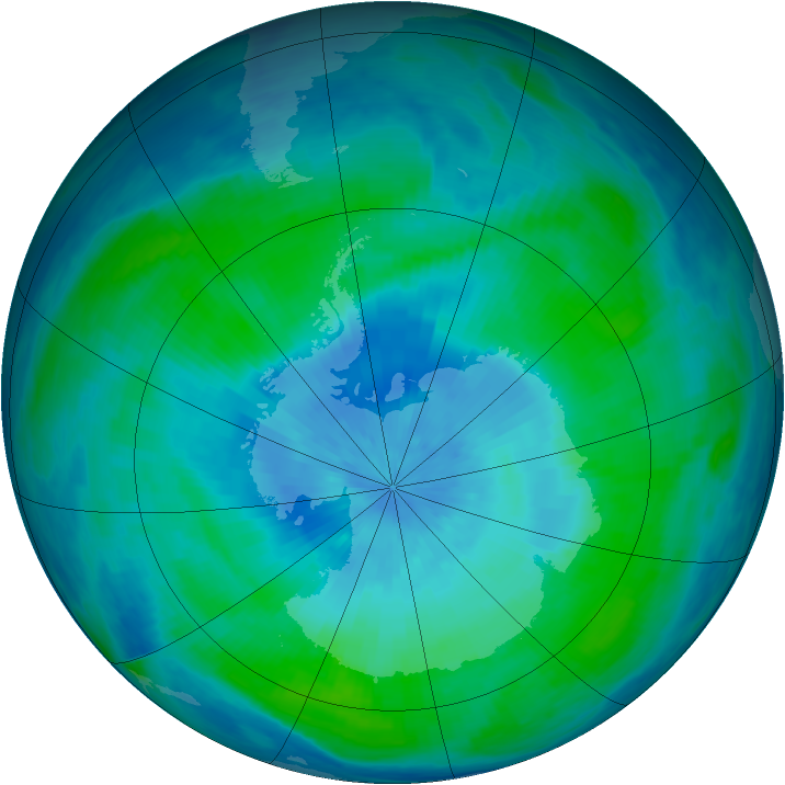 Antarctic ozone map for 25 February 1991