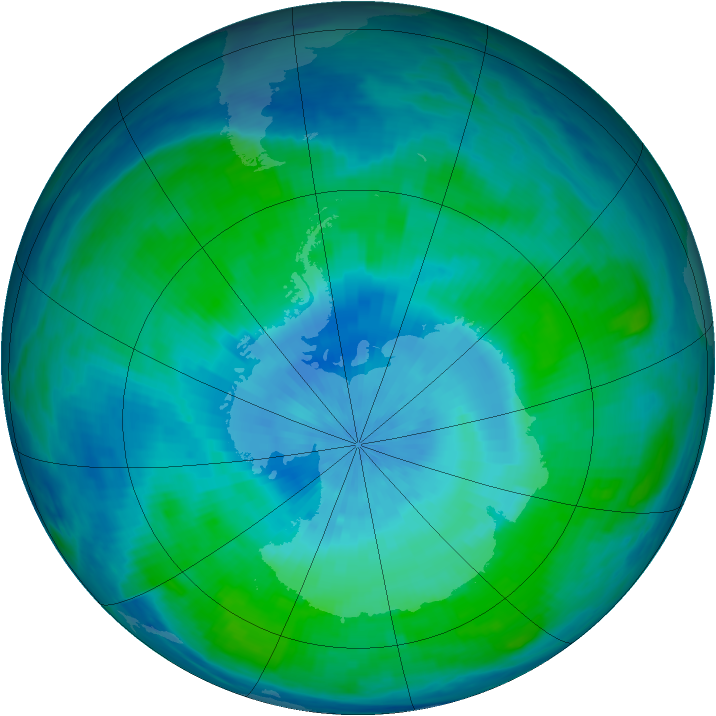 Antarctic ozone map for 26 February 1991