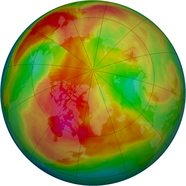 Arctic ozone map for 27 February 1991