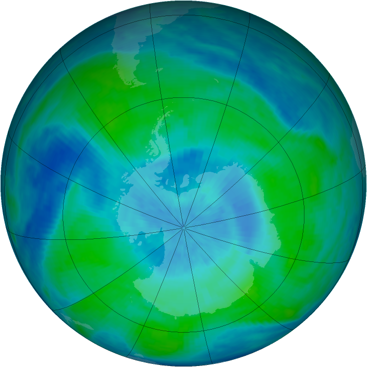 Antarctic ozone map for 28 February 1991