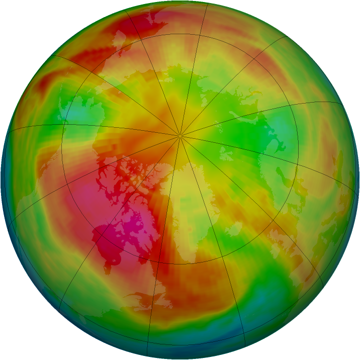 Arctic ozone map for 01 March 1991