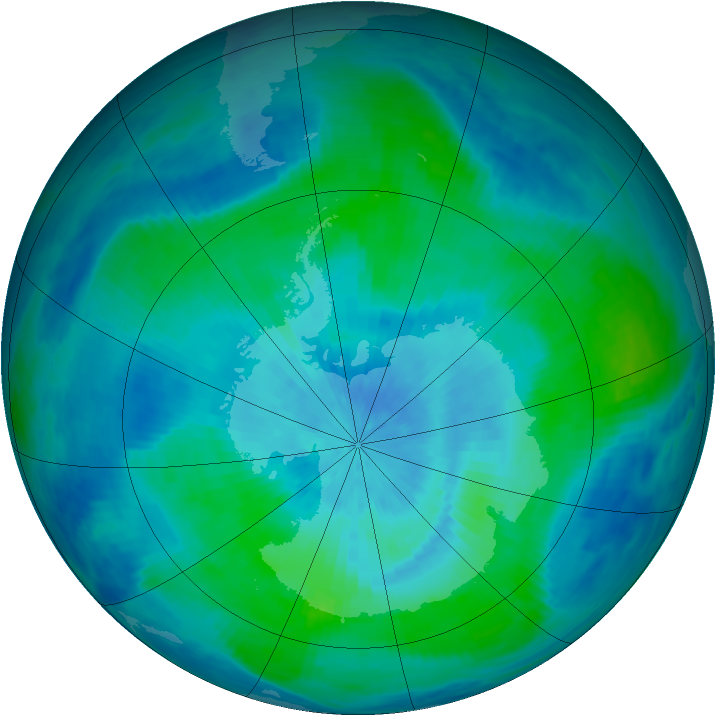 Antarctic ozone map for 04 March 1991