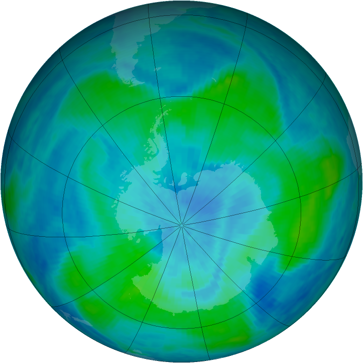 Antarctic ozone map for 05 March 1991