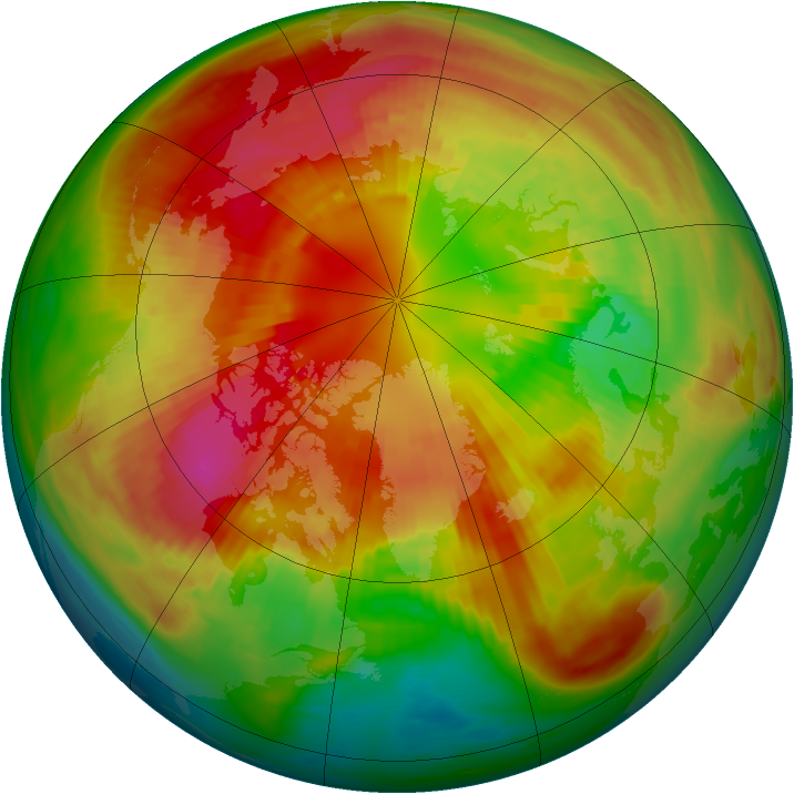 Arctic ozone map for 06 March 1991