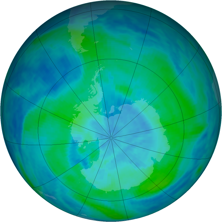 Antarctic ozone map for 08 March 1991