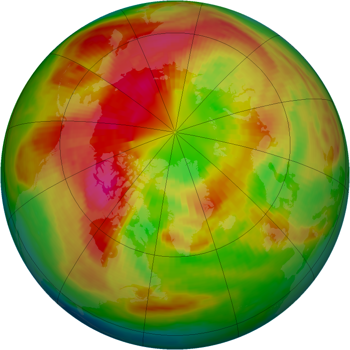 Arctic ozone map for 09 March 1991